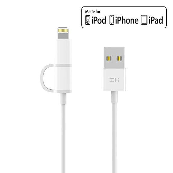 کابل دو گانه میکرو USB و لایتنینگ ZMI شیائومی