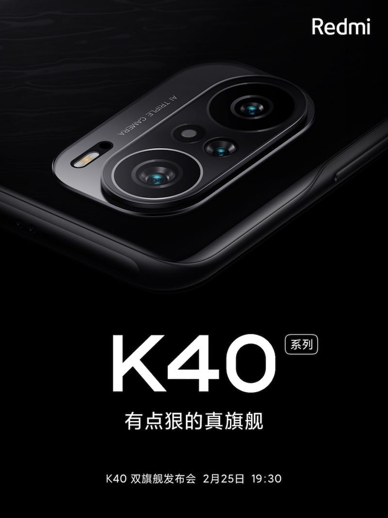 The official Redmi K40 poster confirms that the phone will have a triple camera